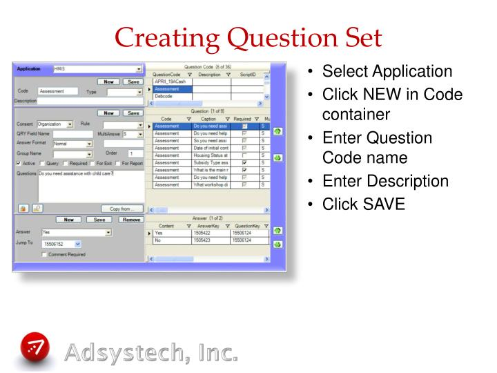 Creating Question Set