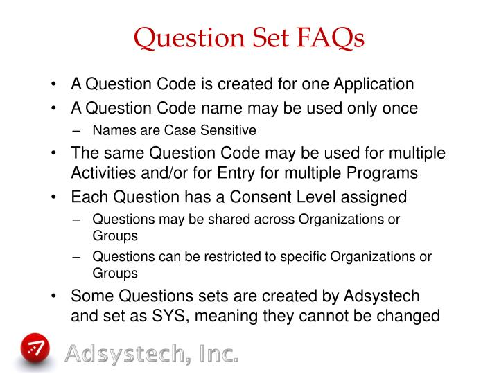 Question Set FAQs