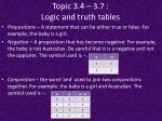 topic 3 4 3 7 logic and truth tables