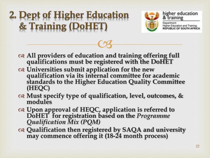 2. Dept of Higher Education
