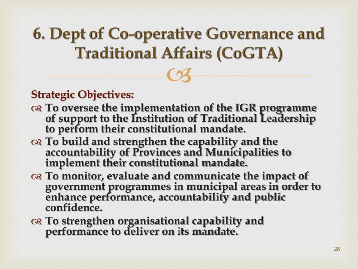 6. Dept of Co-operative Governance and Traditional Affairs (