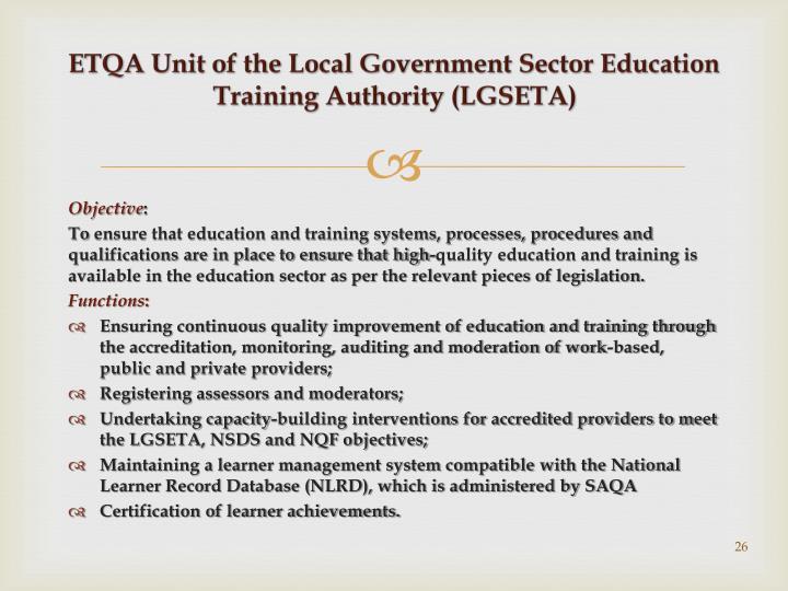 ETQA Unit of the Local Government Sector Education Training Authority (LGSETA)