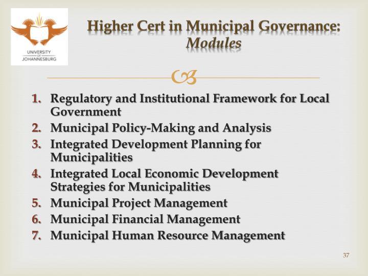 Higher Cert in Municipal Governance: