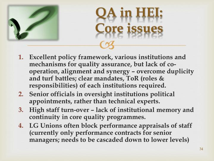 QA in HEI: