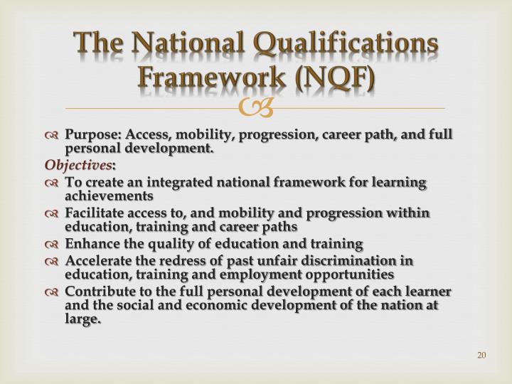 The National Qualifications Framework (NQF)