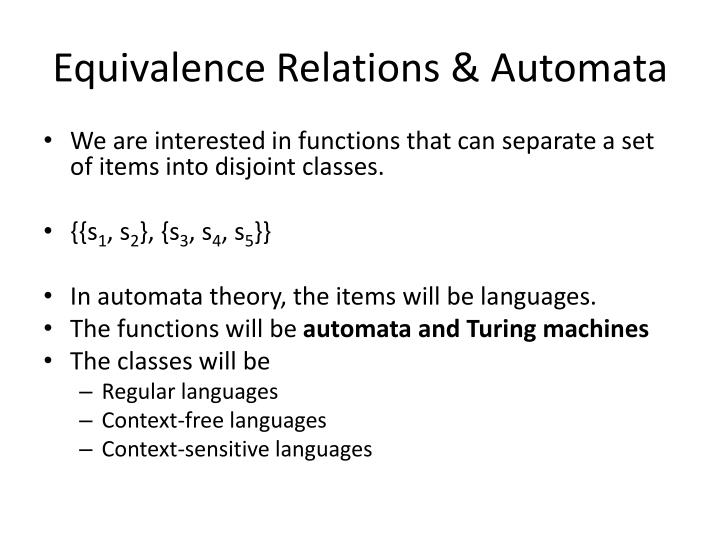 Equivalence Relations & Automata