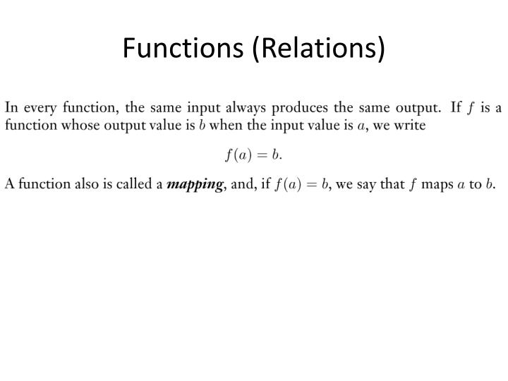 Functions (Relations)