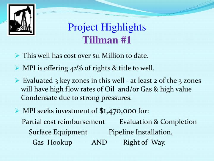 project highlights tillman 1 n.