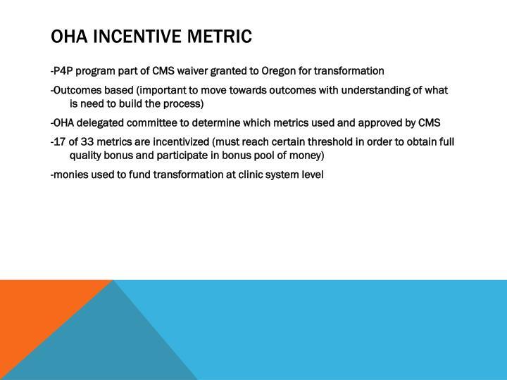 OHA Incentive metric