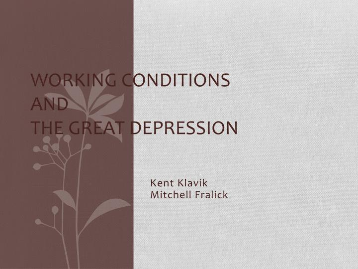 working conditions and the great depression n.