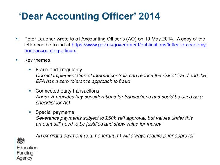 'Dear Accounting Officer' 2014