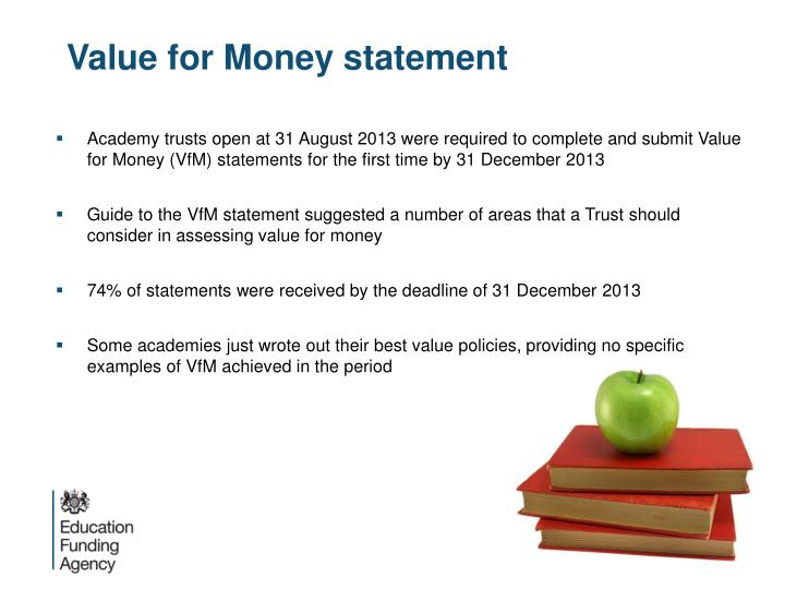 Value for Money statement