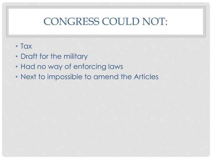 Congress could not: