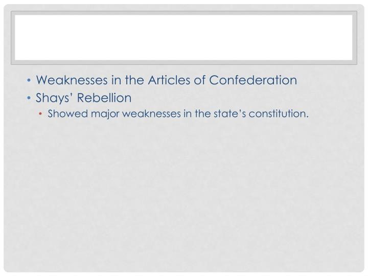 Weaknesses in the Articles of Confederation