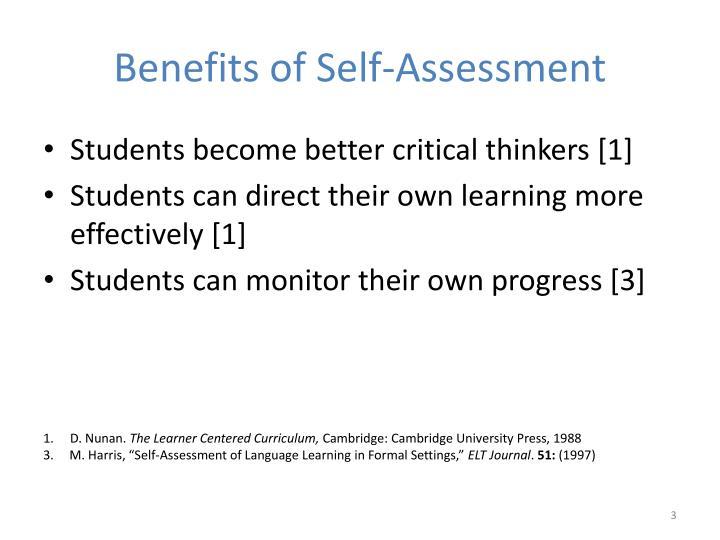 Benefits of self assessment