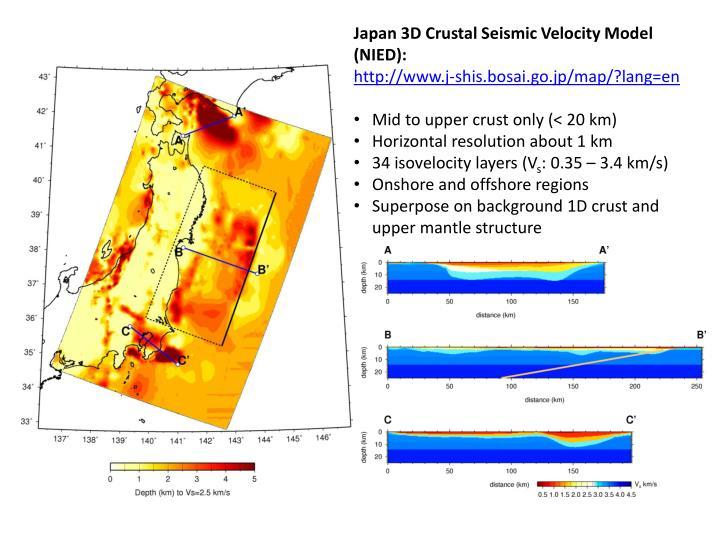 Japan 3D Crustal Seismic Velocity Model (NIED):