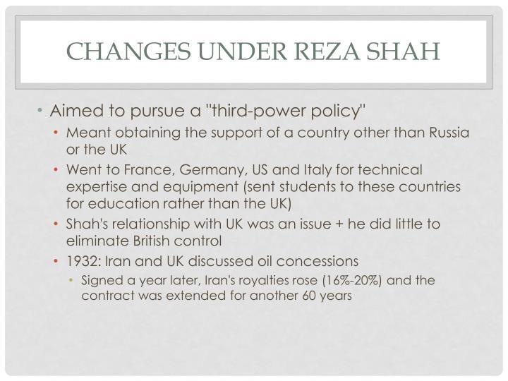 Changes under Reza Shah