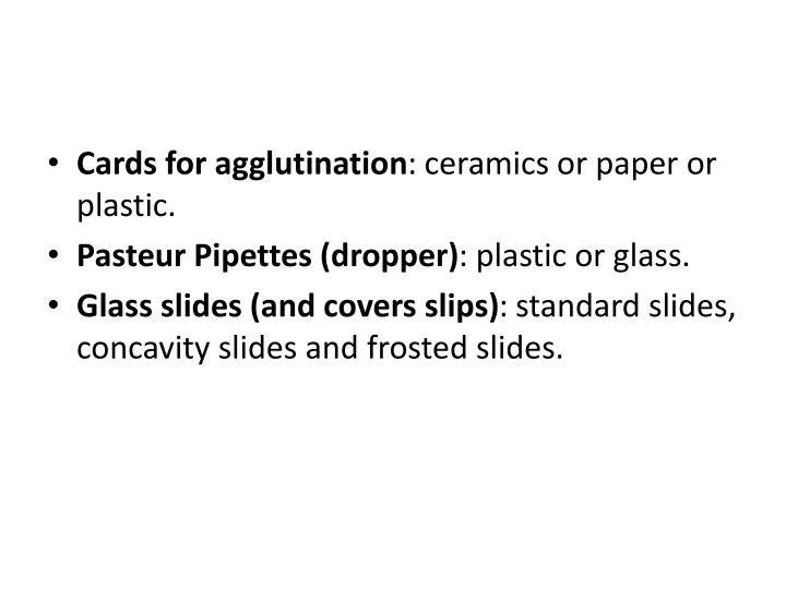 Cards for agglutination