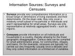 information sources surveys and censuses
