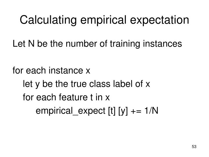 Calculating empirical expectation