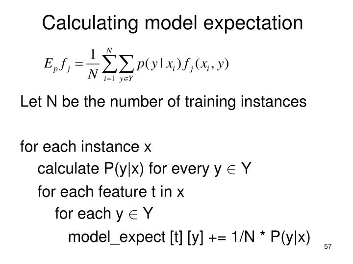 Calculating model expectation