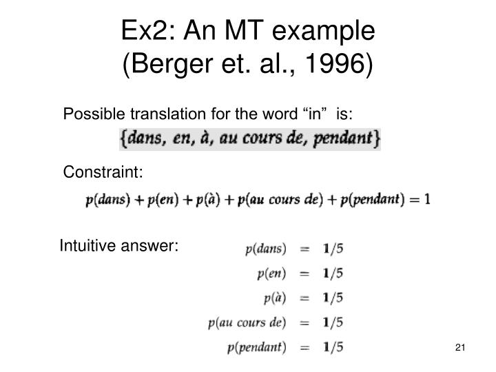 Ex2: An MT example