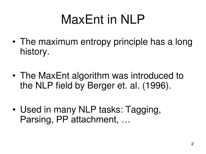 Maxent in nlp