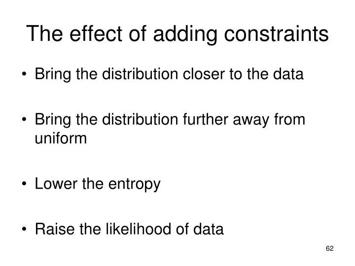 The effect of adding constraints