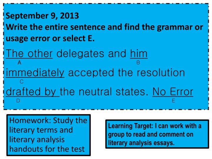 Homework study the literary terms and literary analysis handouts for the test
