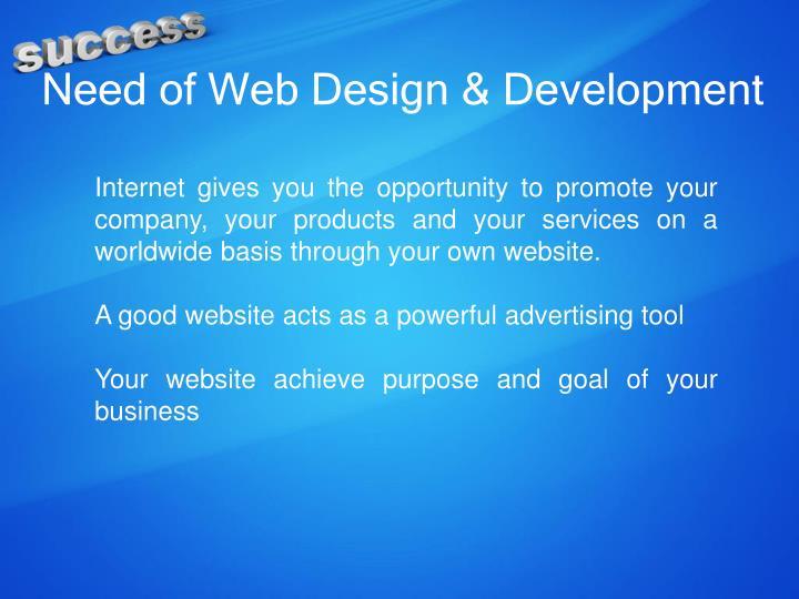 Need of web design development
