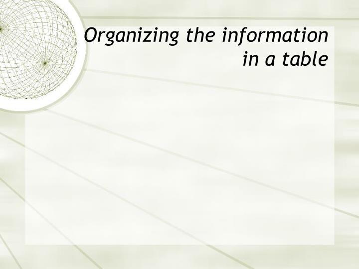 Organizing the information