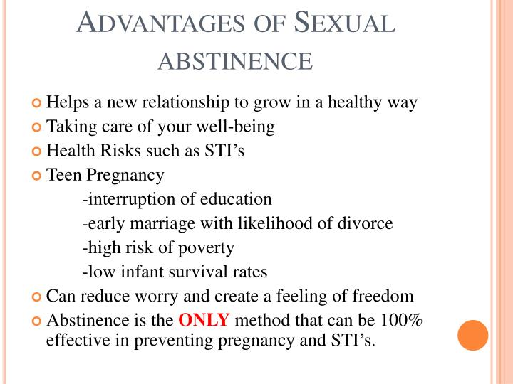 Advantages of Sexual abstinence