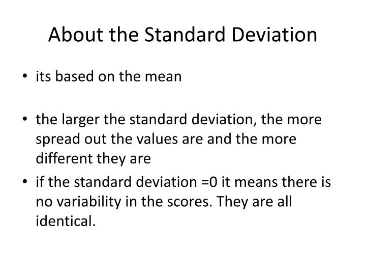 About the Standard Deviation