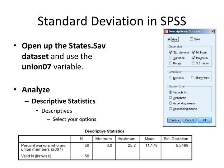 Standard Deviation in SPSS