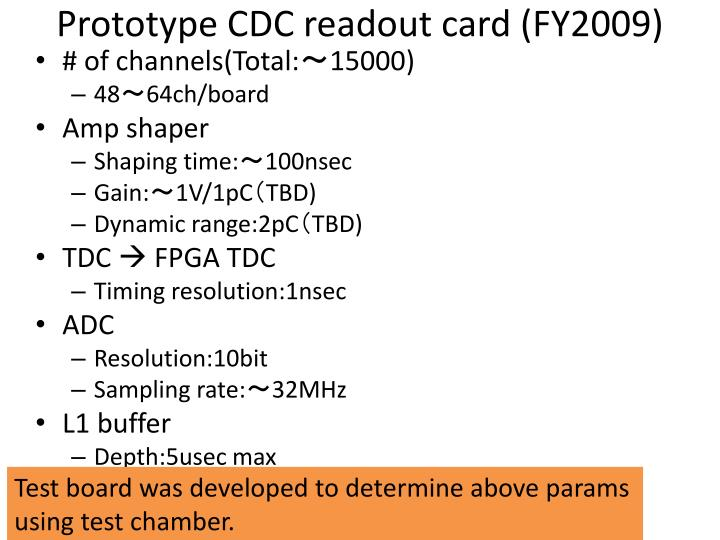 Prototype cdc readout card fy2009
