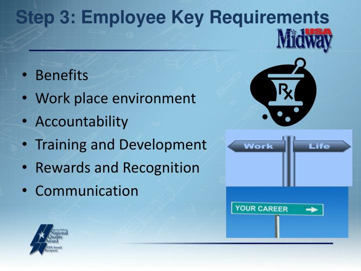 Step 3: Employee Key Requirements