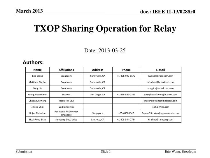 Txop sharing operation for relay