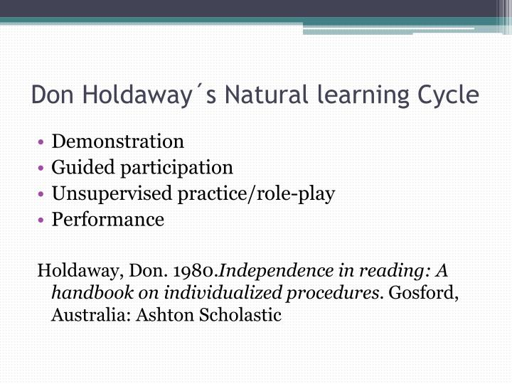 Don holdaway s natural learning cycle