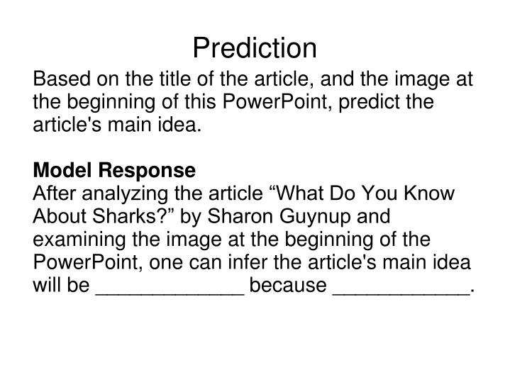 Based on the title of the article, and the image at the beginning of this PowerPoint, predict the article's main idea.