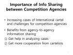 importance of info sharing between competition agencies