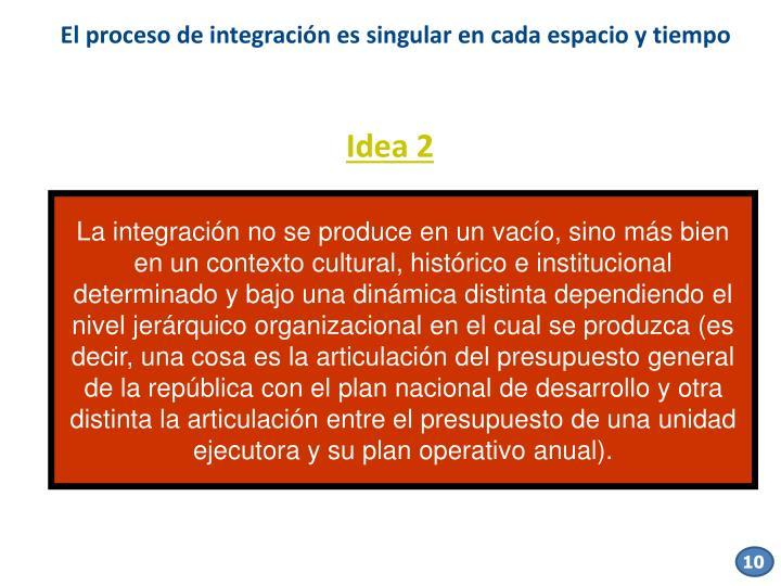 El proceso de integración es singular en cada espacio y tiempo