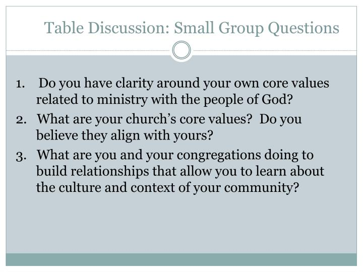 Table Discussion: Small Group Questions