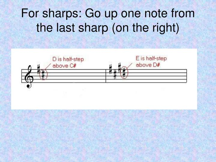 For sharps: Go up one note from the last sharp (on the right)