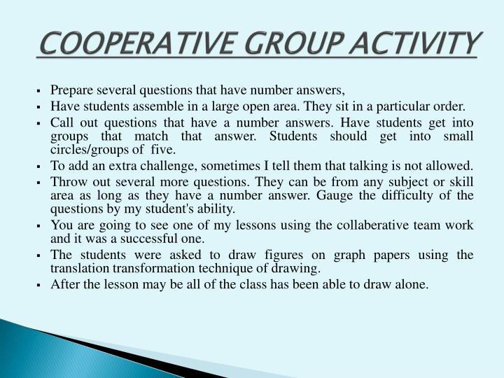 COOPERATIVE GROUP ACTIVITY