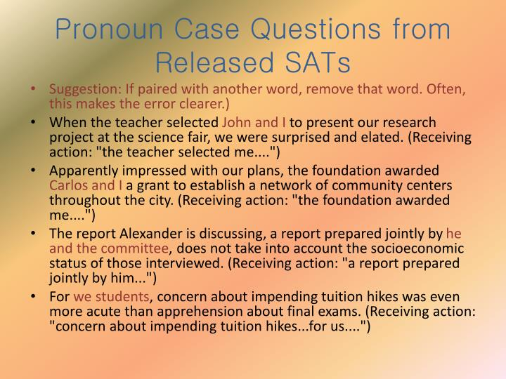 Pronoun Case Questions from Released SATs
