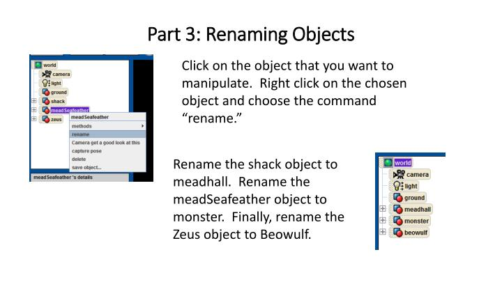Part 3: Renaming Objects