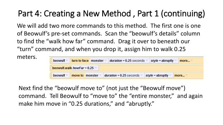 Part 4: Creating a New Method , Part 1