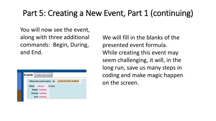 Part 5: Creating a New Event, Part 1