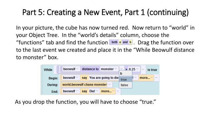 Part 5: Creating a New Event, Part 1 (continuing)