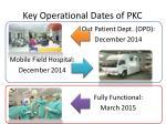 key operational dates of pkc
